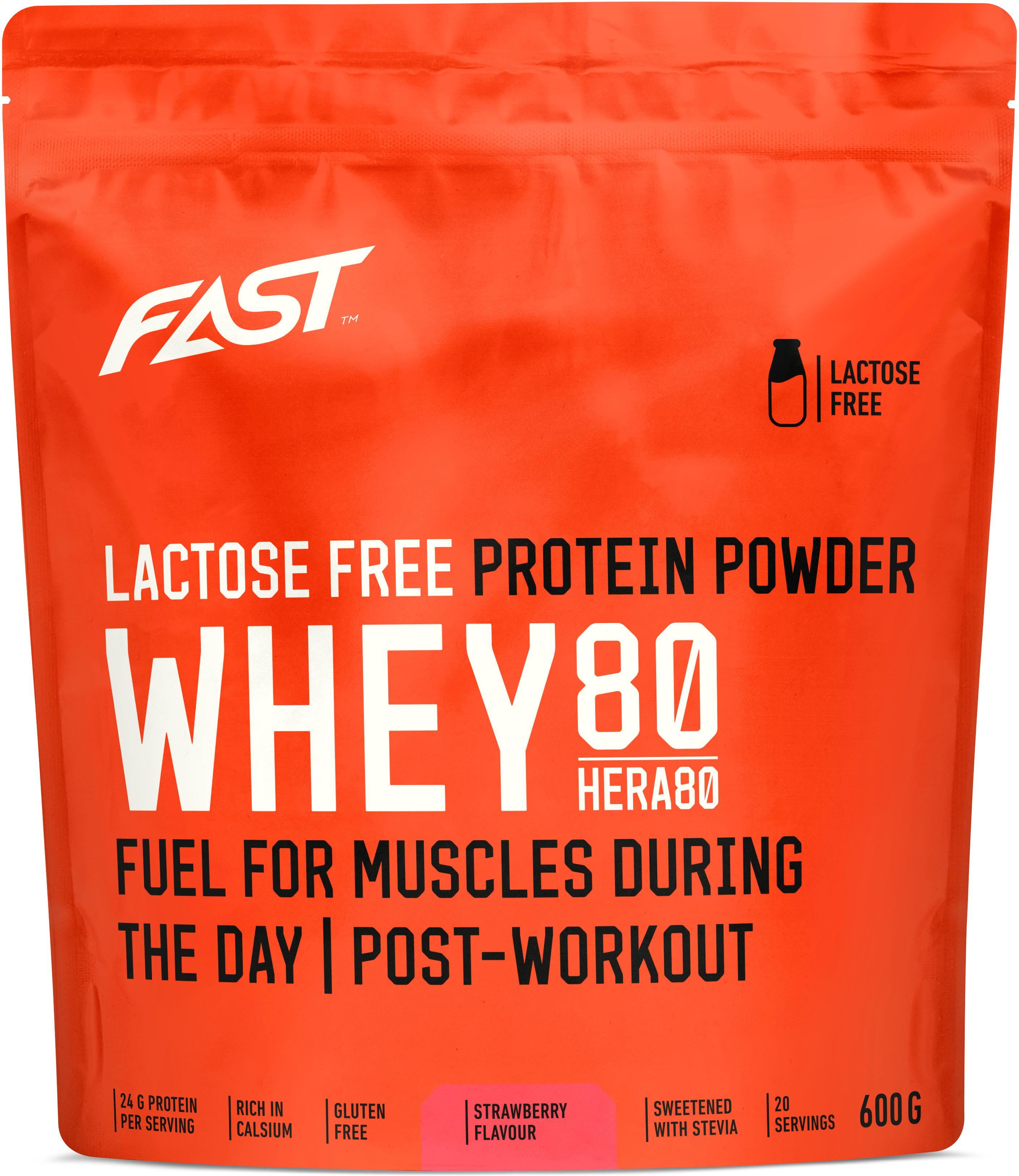 Prašak FAST Whey80 600 g strawberry lactose free